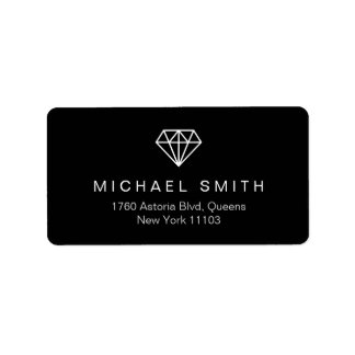 Black and White Diamond Logo Address Label