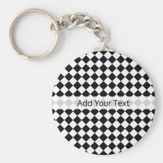 Black and White Diamond Pattern by Shirley Taylor Basic Round Button Key Ring