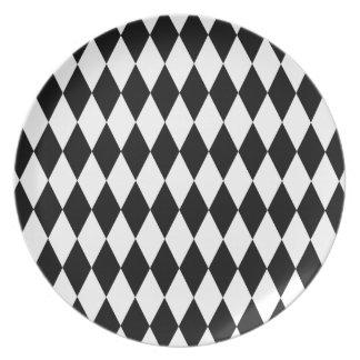 Black and White Diamond Pattern Dinner Plates