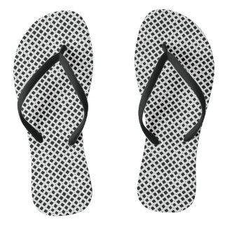 Black and White Diamond Pattern Flip Flops