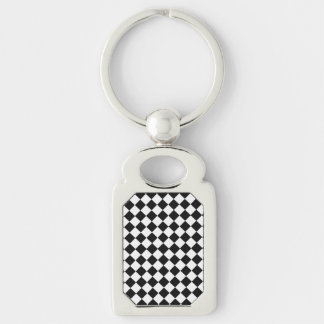 Black And White Diamond Pattern Silver-Colored Rectangle Key Ring