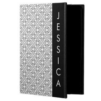 Black and White Diamond Style with Custom Name iPad Air Covers