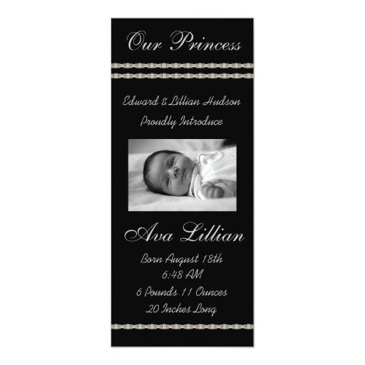 Black and White Diamonds Baby Birth Annoucements 10 Cm X 24 Cm Invitation Card