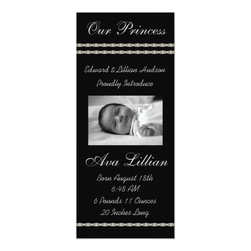 Black and White Diamonds Baby Birth Annoucements 10 Cm X 24 Cm Invitation Card