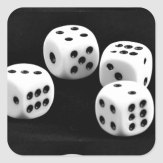 Black And White Dices Square Sticker