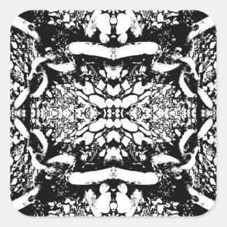 Black and White Digital Art. Square Sticker