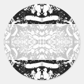 Black and White Digital Art. Round Stickers