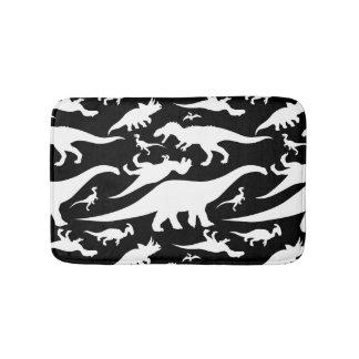 Black and White Dinosaur Pattern Bath Mat