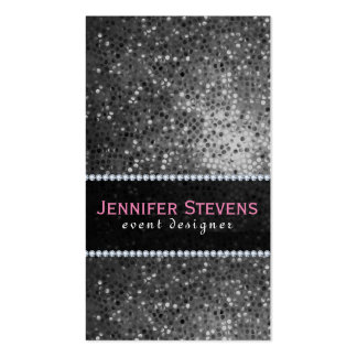 Black And White Disco Glitter & Sparkles 2 Double-Sided Standard Business Cards (Pack Of 100)