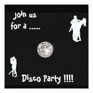 """Black and White Disco Party invitation 5.25"""" Square Invitation Card"""