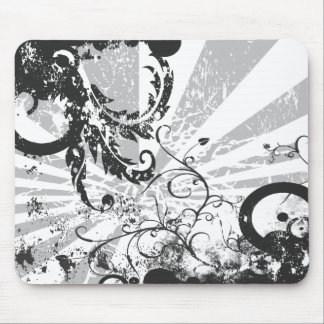 Black and White Disintegration Mouse Pad