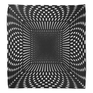 Black and White Distorted Checkered Pattern Bandana