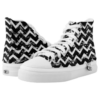 Black and white distressed chevron printed shoes