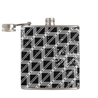 Black And White Distressed Grid Pattern Flask