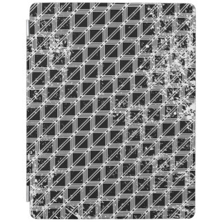 Black And White Distressed Grid Pattern iPad Cover