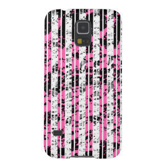 Black and White Distressed Pinstripe Pattern Galaxy S5 Covers