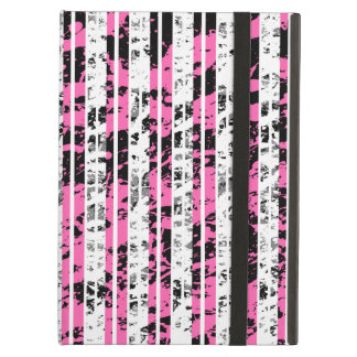 Black and White Distressed Pinstripe Pattern iPad Air Covers