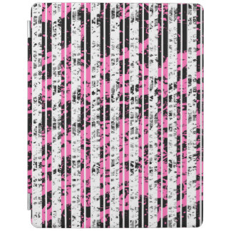 Black and White Distressed Pinstripe Pattern iPad Cover