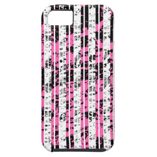 Black and White Distressed Pinstripe Pattern iPhone 5 Cases