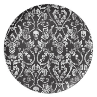 Black and white distressed skull damask. plate