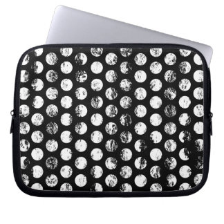 Black and White Distressed Spots Pattern Laptop Sleeve