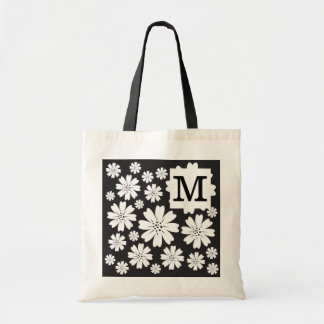 Black And White Ditsy Flowers Monogrammed Tote Bag