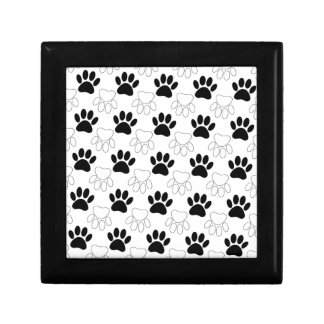 Black And White Dog Paw Print Pattern Gift Box