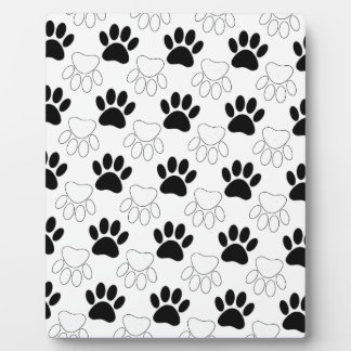 Black And White Dog Paw Print Pattern Plaque