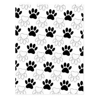 Black And White Dog Paw Print Pattern Postcard