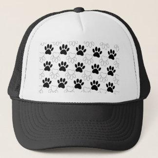 Black And White Dog Paw Print Pattern Trucker Hat