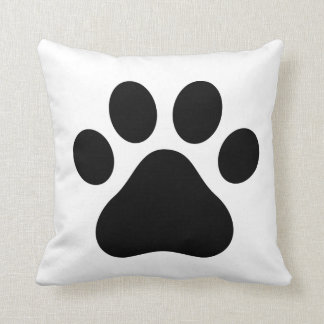 BLACK AND WHITE DOG PAW PRINT SQUARE THROW CUSHION