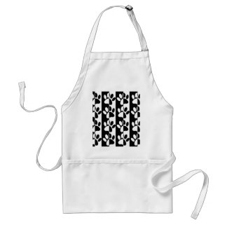 Black And White Dog Paws And Stripes Standard Apron
