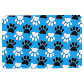 Black And White Dog Paws In Blue Background Floor Mat
