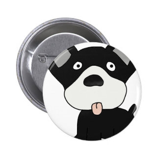 black and white dog pinback button