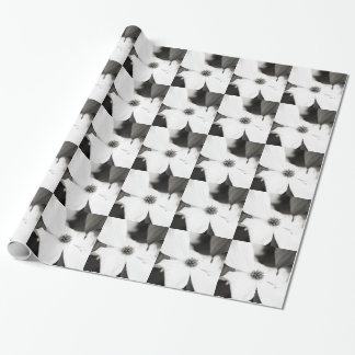 Black and White Dogwood Flower Wrapping Paper