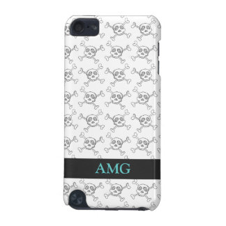 Black and White Doodle Skulls Pattern iPod Touch (5th Generation) Covers
