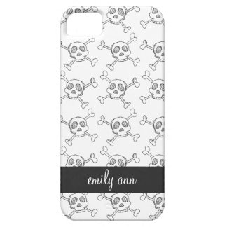 Black and White Doodle Skulls Pattern iPhone 5 Cover