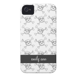 Black and White Doodle Skulls Pattern iPhone 4 Case-Mate Case