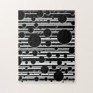 Black and White Dots and Stripes Jigsaw Puzzle