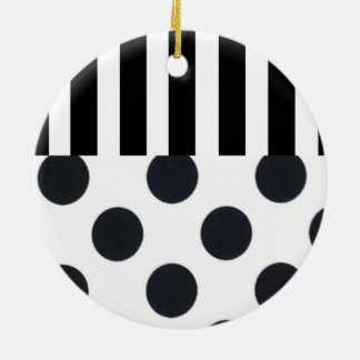 Black and White Dots on Stripes Christmas Ornaments