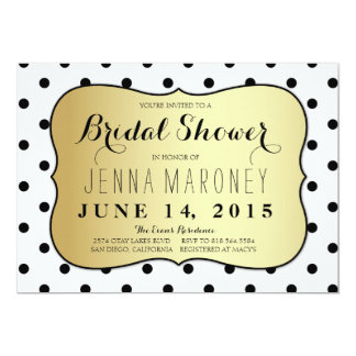 Black and White Dots w/ Gold Foil Bridal Shower Card