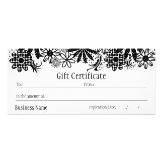 Black And White Dotted Gift Certificate Rack Card
