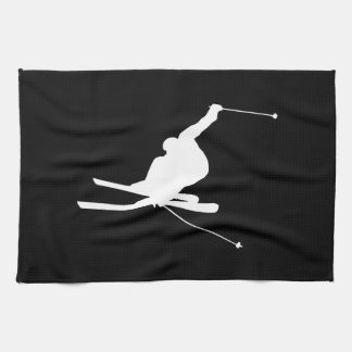 Black and White Downhill Skier Towel