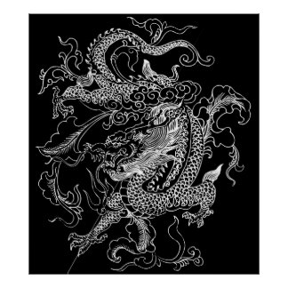 Black and White Dragon Poster Print