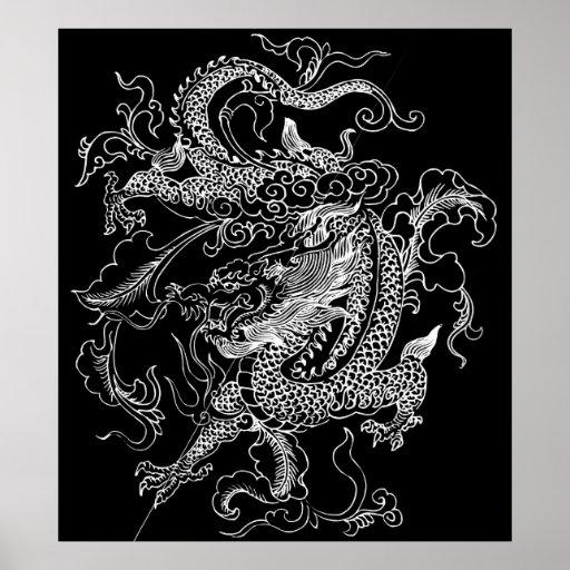 Black and White Dragon Poster Print