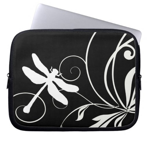 Black and White Dragonfly Laptop Sleeves