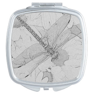 Black and White Dragonfly Makeup Mirror