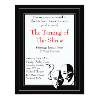 Black and White Drama and Theater Invitation