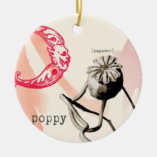 black and white dried poppy christmas tree ornaments