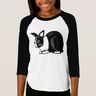 Black and White Dutch Rabbit Girls' Raglan T-Shirt